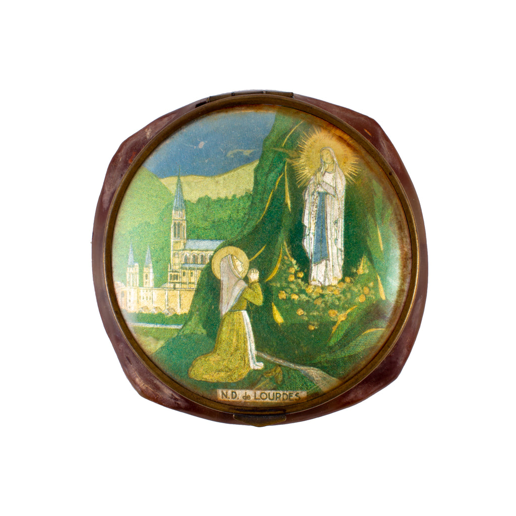 Vintage French Lourdes Souvenir Powder Compact