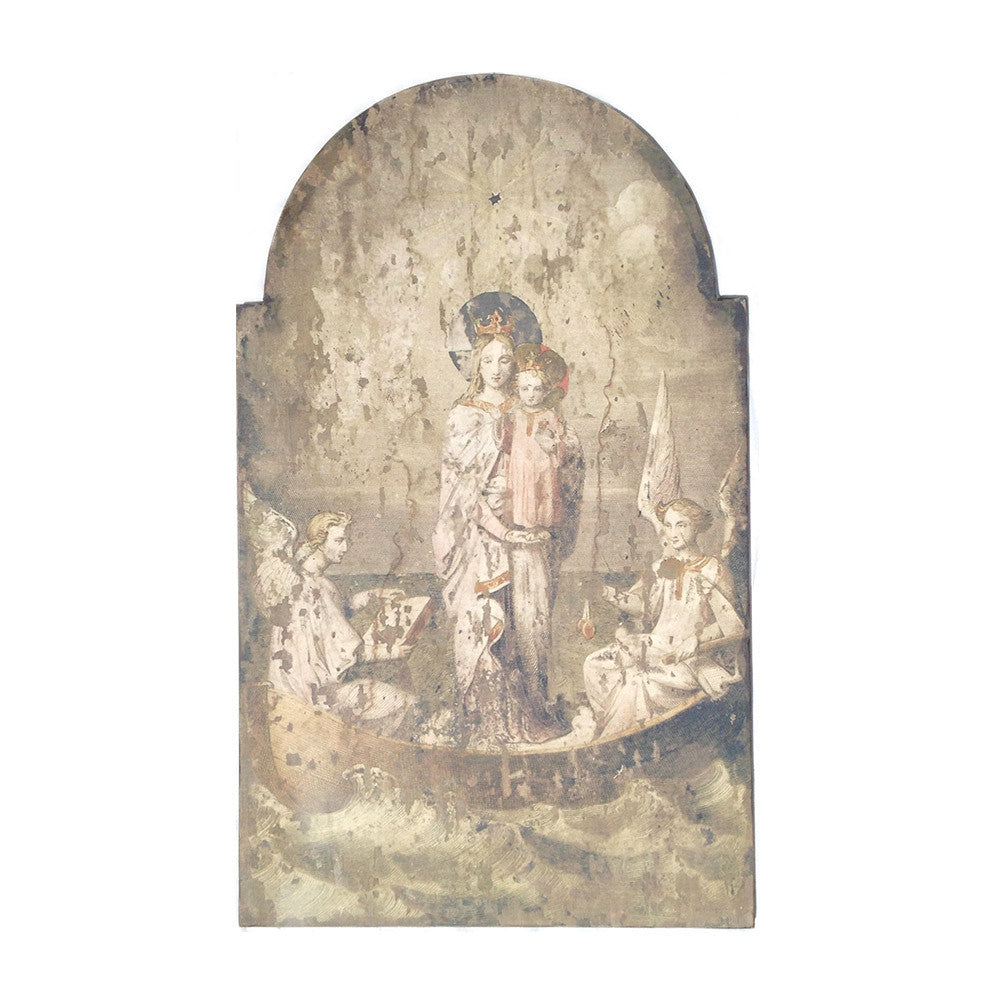 Large Religious Plaque, Angels & Mary