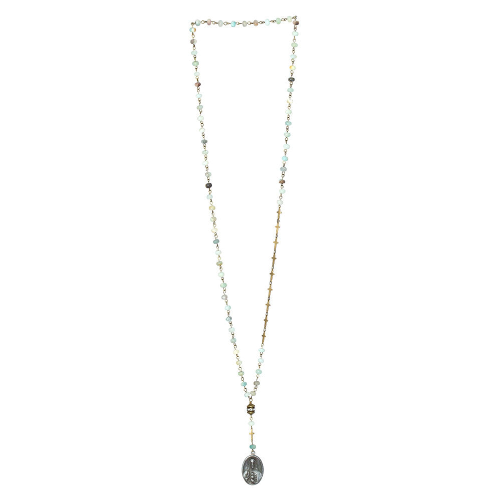 Amozonite Rosary Style Necklace with Vintage Medallion