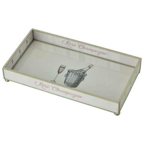 Rosé Champagne Nickel & Glass Tray