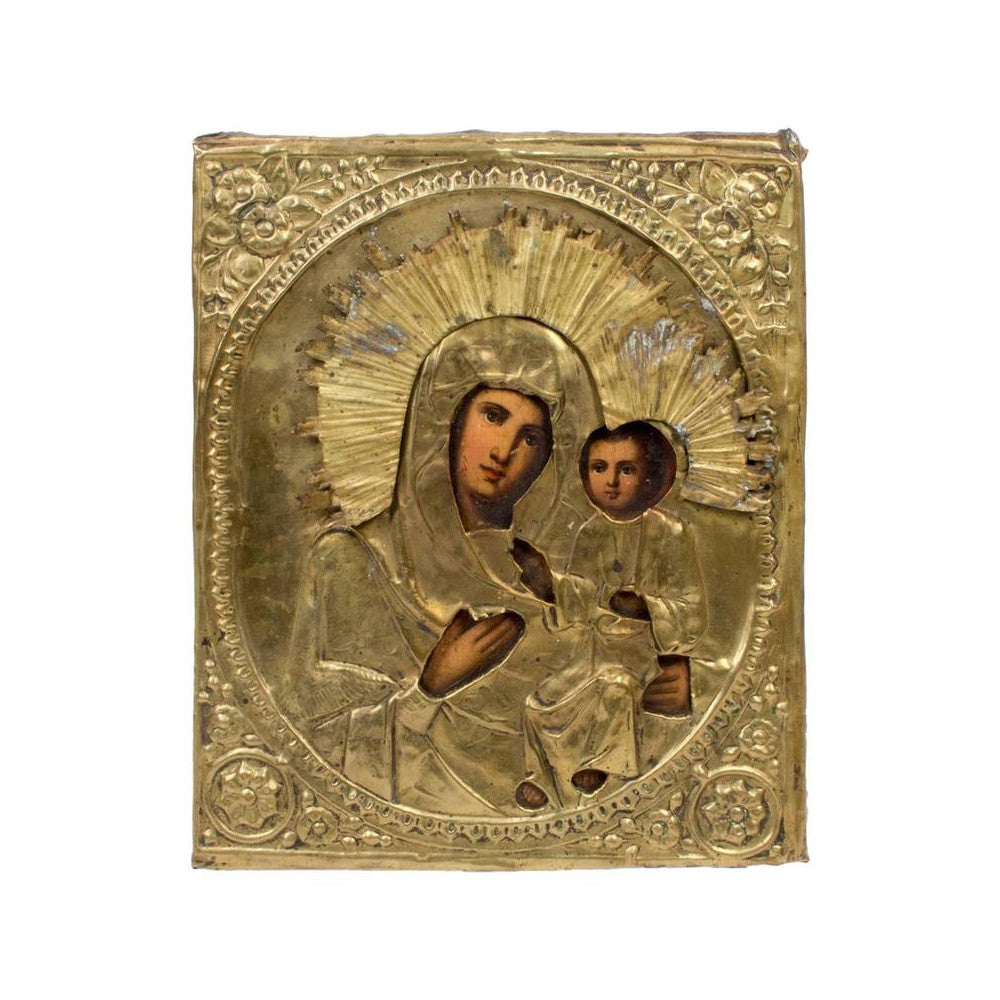 19th Century Our Lady of Iveron Russian Icon of Virgin Mary and Child Christ