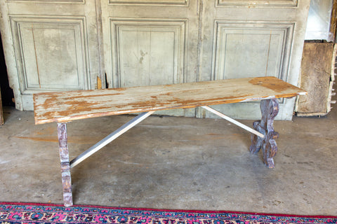 Distressed Finish Antique Swedish Wood Bench found in France