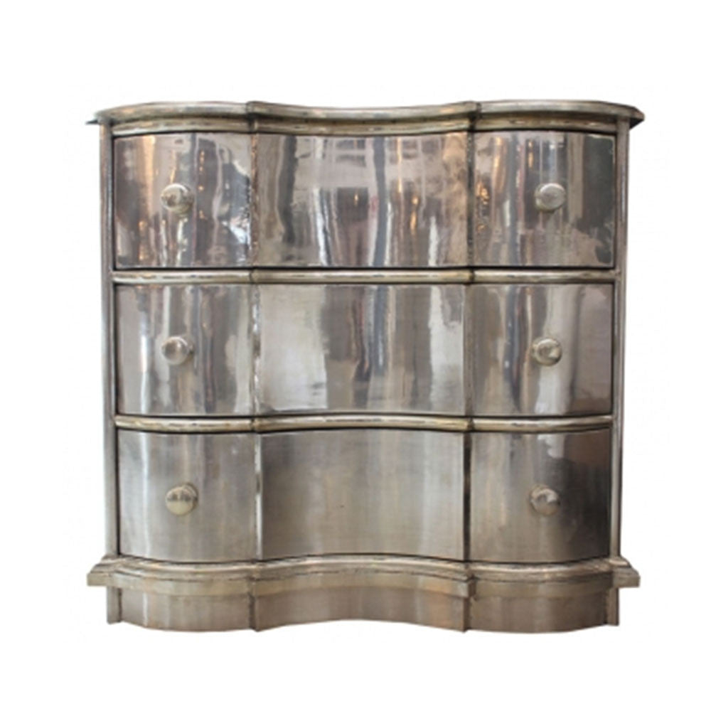 Curved White Metal Chest of Drawers