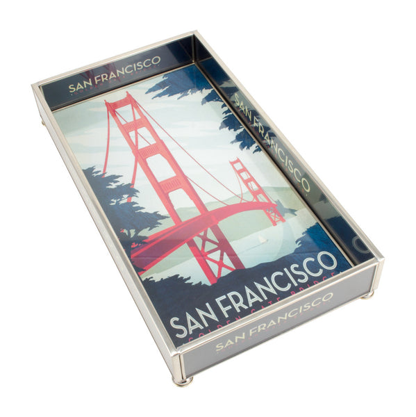 San Francisco's Golden Gate Bridge Glass & Nickel Tray