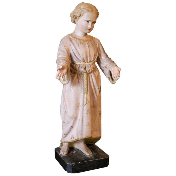 Antique Painted Plaster Statue of Saint John found in France (ca. 1900)