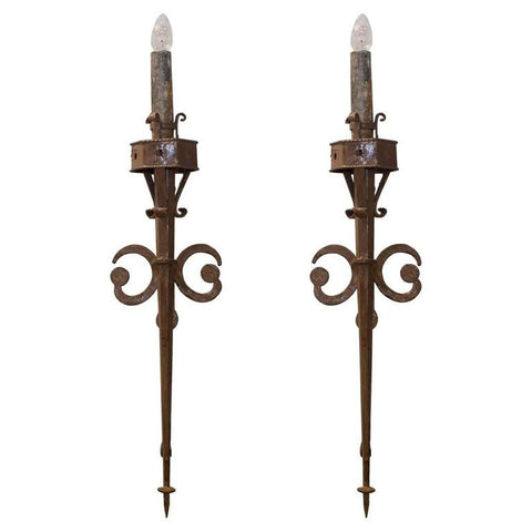 Pair of Antique French Torchiere Sconces