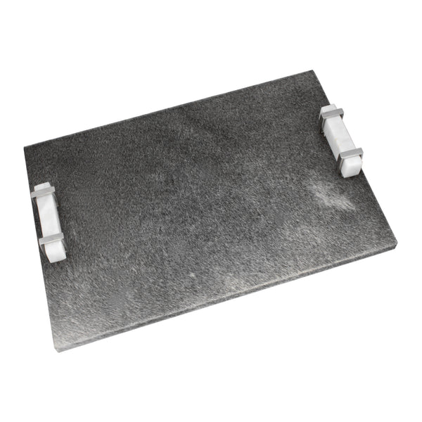 "Gray Calf Hair ""Serenity"" Tray with Marble & Nickel Handles"