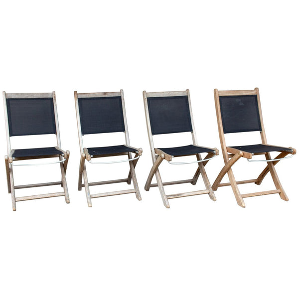 Set of Four Vintage Teak and Nylon Folding Outdoor Chairs Found in France