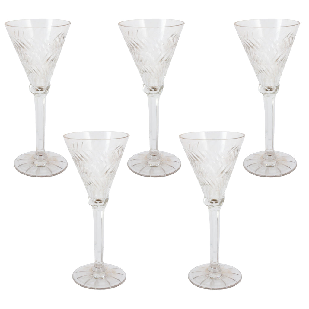 Set of 5 Antique Crystal Cordial Glasses