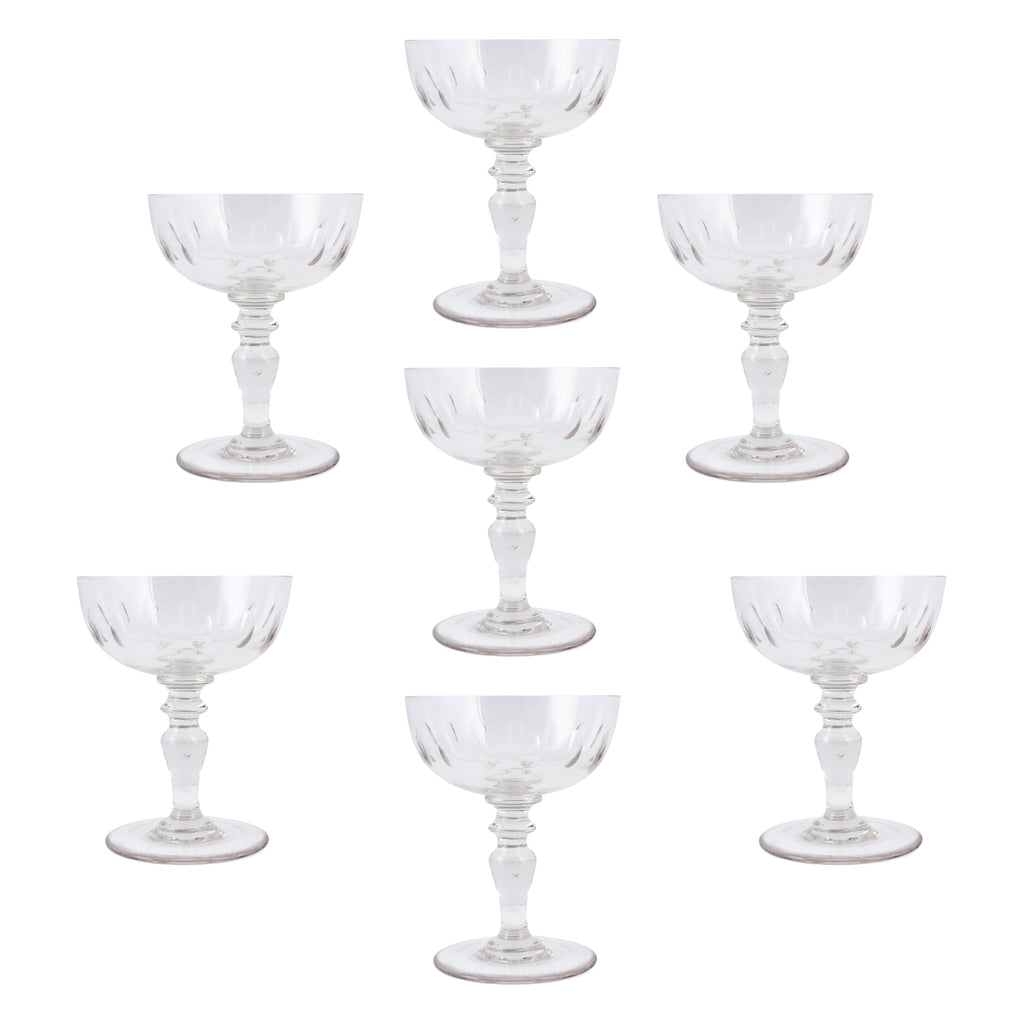 Set of 7 Antique French Crystal Champagne Coupes
