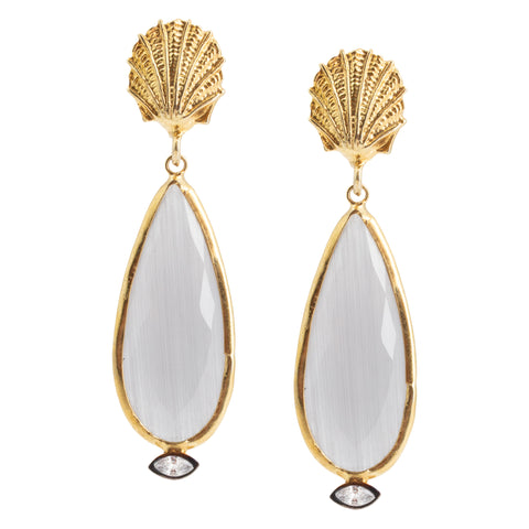 Handmade Seashell & Cat Eye Drop Earrings from Istanbul