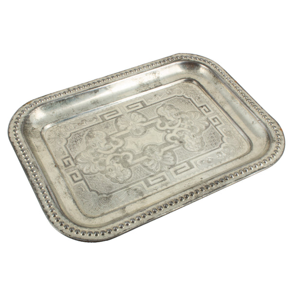 Small Vintage French Metal Engraved Tray