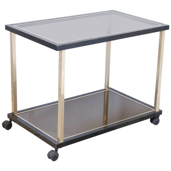 Vintage French Smoky Glass and High Gloss Black Bar Cart. Furniture   Laurier Blanc   Unique Home Decor From Around The World
