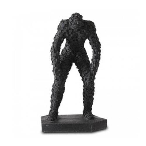 Mosaic Man Standing Sculpture in Black