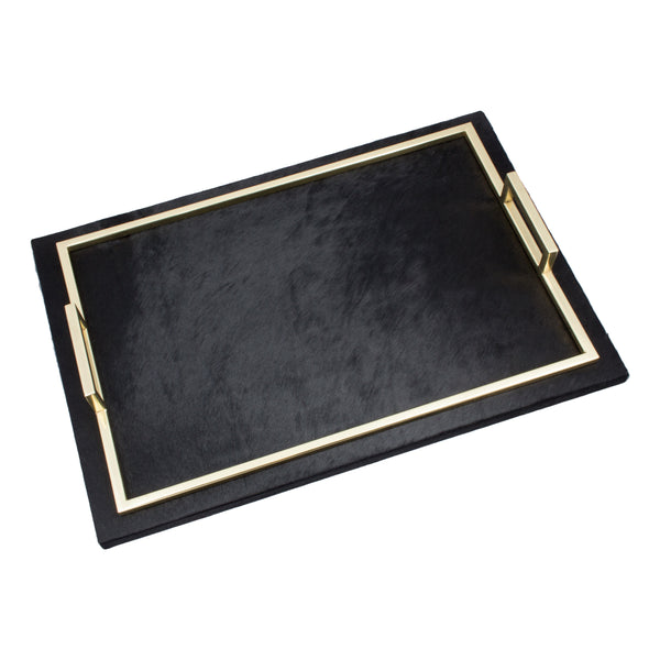 "Black Calf Hair & Polished Brass ""Spectrum"" Tray"