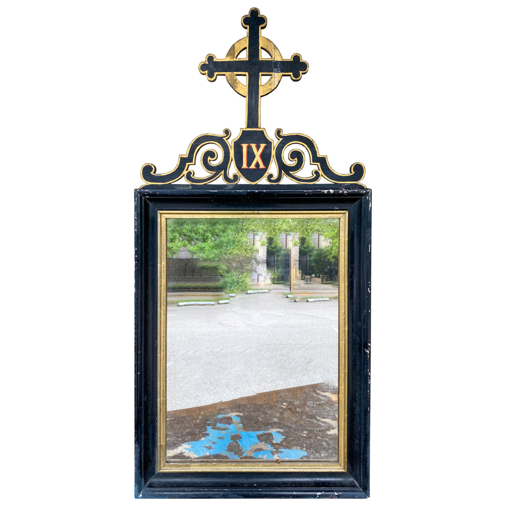 Antique French Ebonized & Gilt Wood Stations of the Cross Mirror Pairing