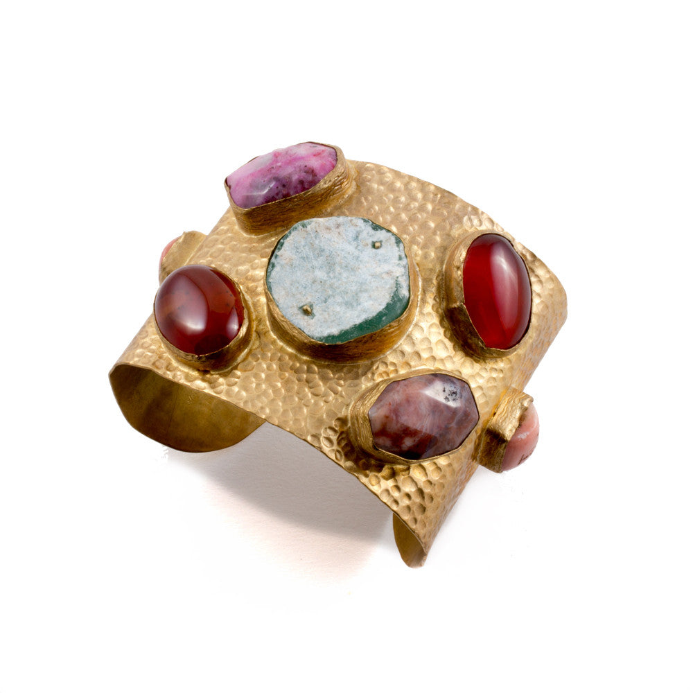 Natural Stone & Brass Cuff with Pink Coral from Istanbul