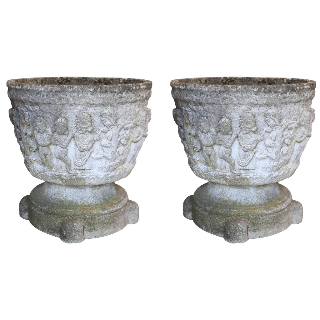 Pair of Antique Oversized Cast Stone Decorated Planters Found in France