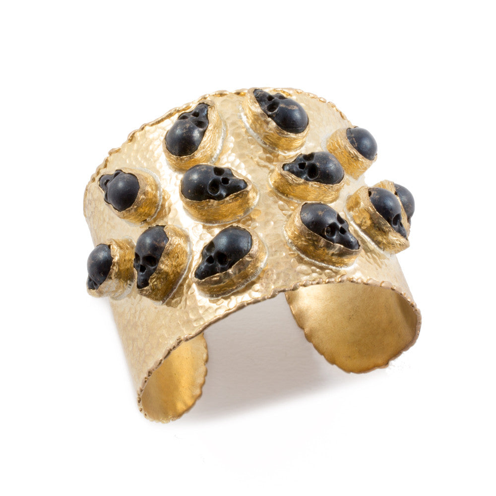 Brass Cuff with Metallic Skull Stones from Istanbul