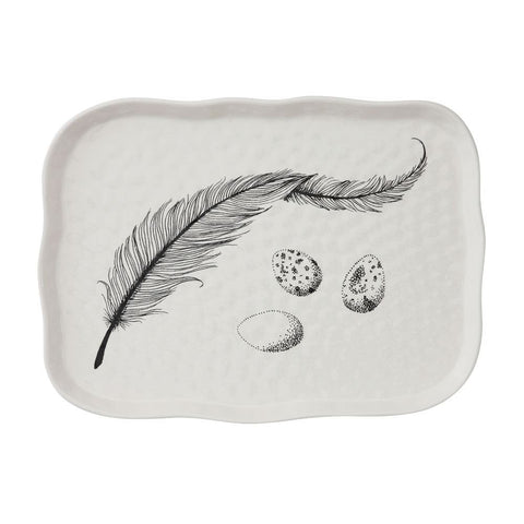 White Stoneware Tray with Feather Decoration (Food Safe)