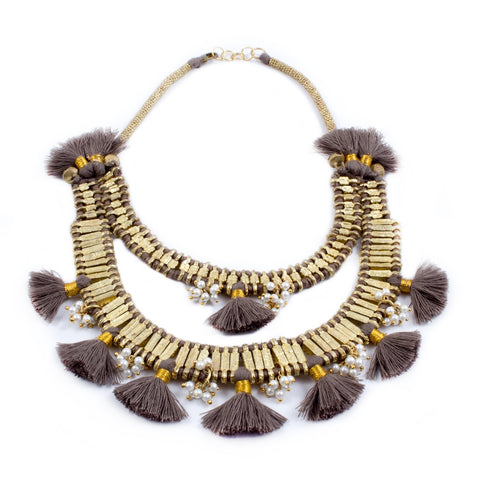Sunshine Necklace in Taupe - Handmade in Egypt