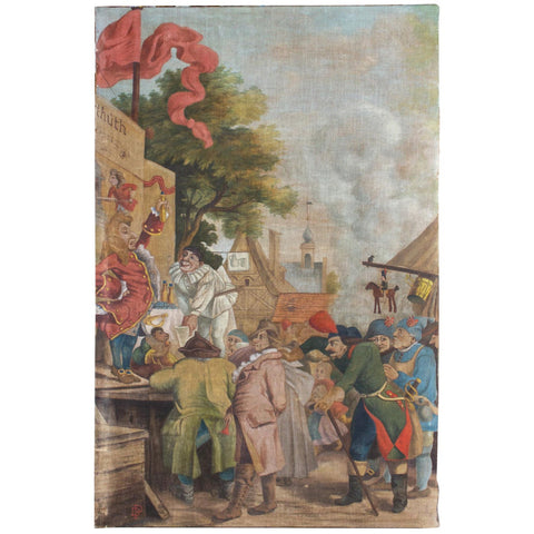 Antique French Tapestry Style Painting (Signed) ca. 1900