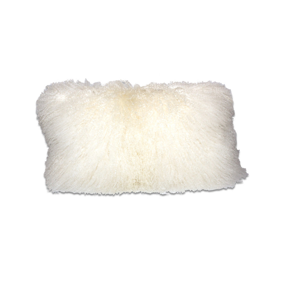 Tibetan Lamb Throw Pillow in Natural