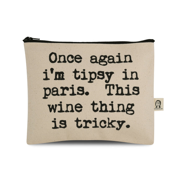 Tipsy in Paris Canvas Printed Pouch