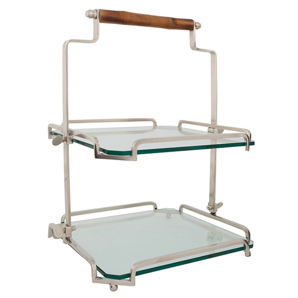 Belgian Glass & Metal Two-Tier Tray with Bamboo Handle