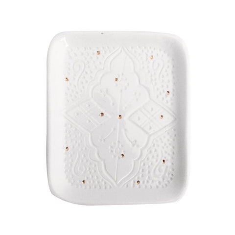 Handmade Moroccan Ceramic Tray in Engraved White & Gold