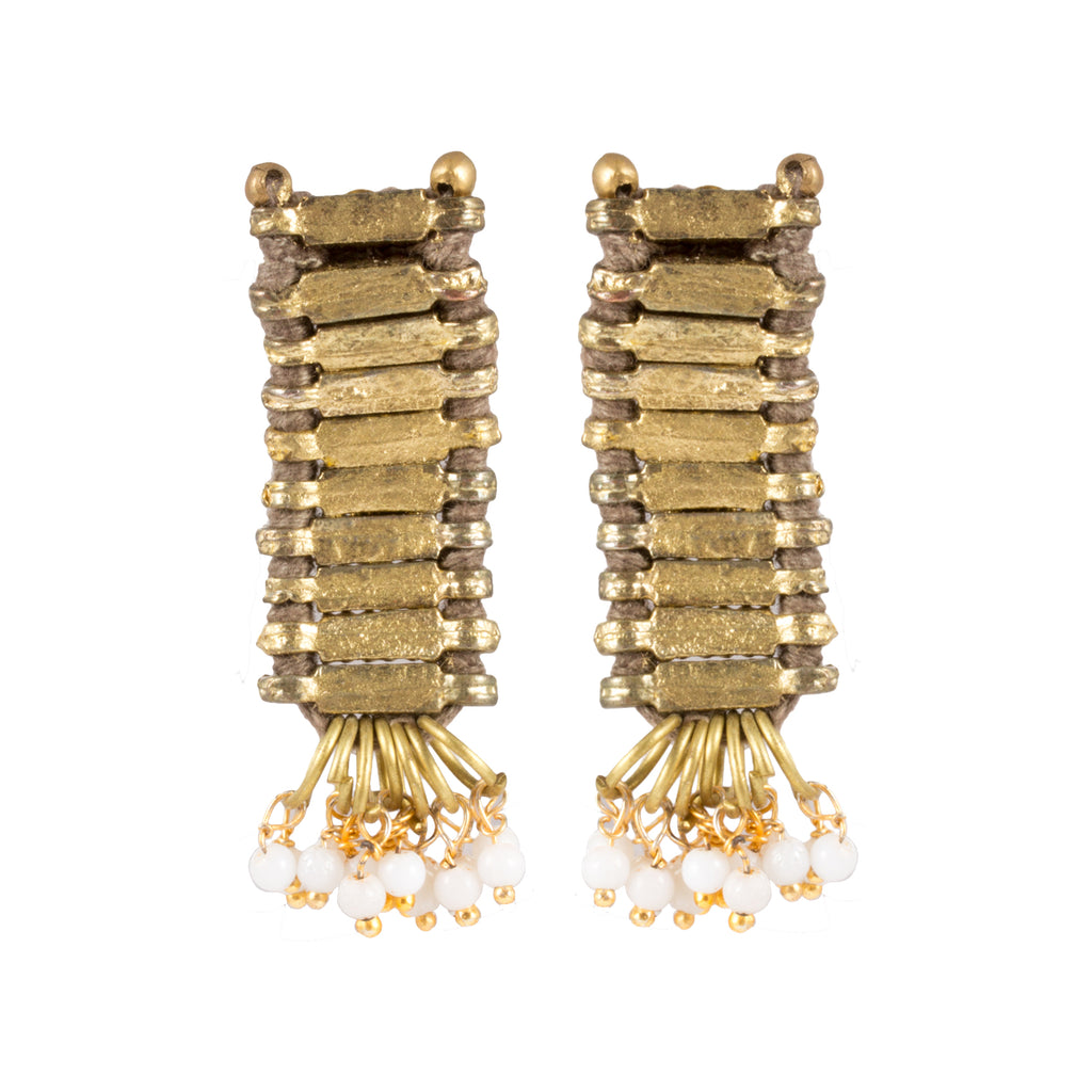 Tribal Gold Earrings in Taupe - Handmade in Egypt