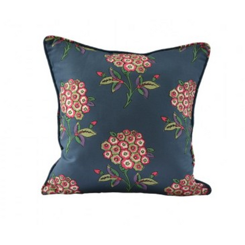 Tulu Textiles Turkish Cotton Linen Throw Pillow - Inez Blue Floral