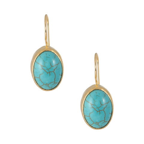 Turkish Delights Earrings: Turquoise Oval Cabochon Drops
