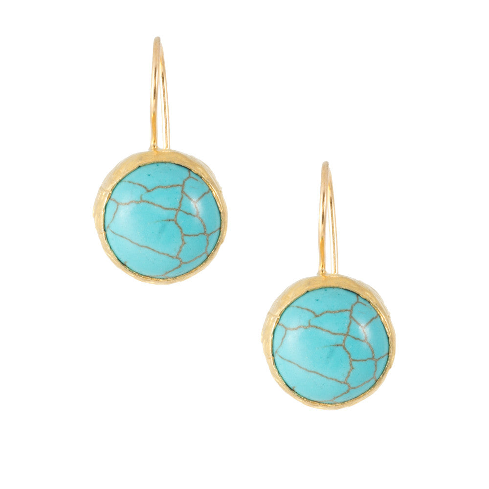 Turkish Delights Earrings: Turquoise Round Cabochon Drops