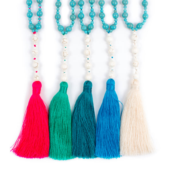 White & Blue Turquoise Tassel Necklaces