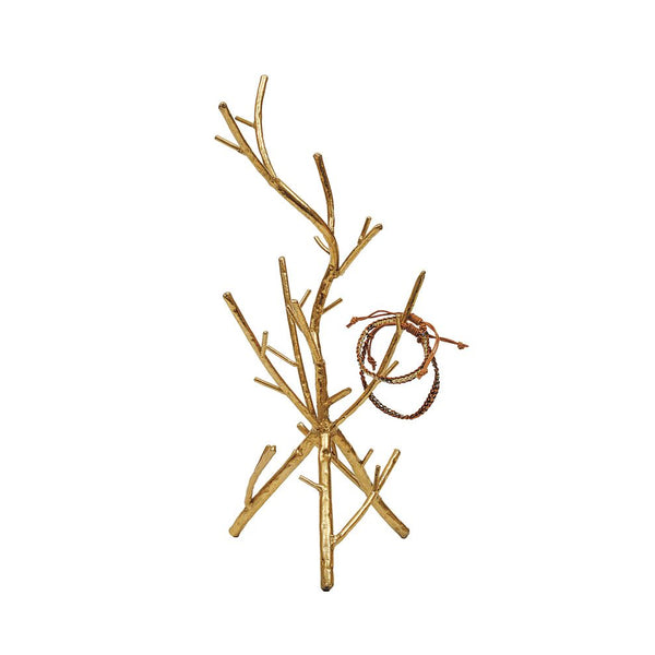 Burnished Metal Twig Jewelry Stand in Gold