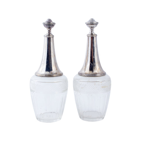 Vintage French Cut Glass & Silver Plate Cruet Set