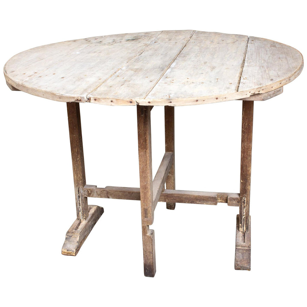 "Antique Distressed French ""Vendage"" Vineyard Harvest Tilt-Top Table"