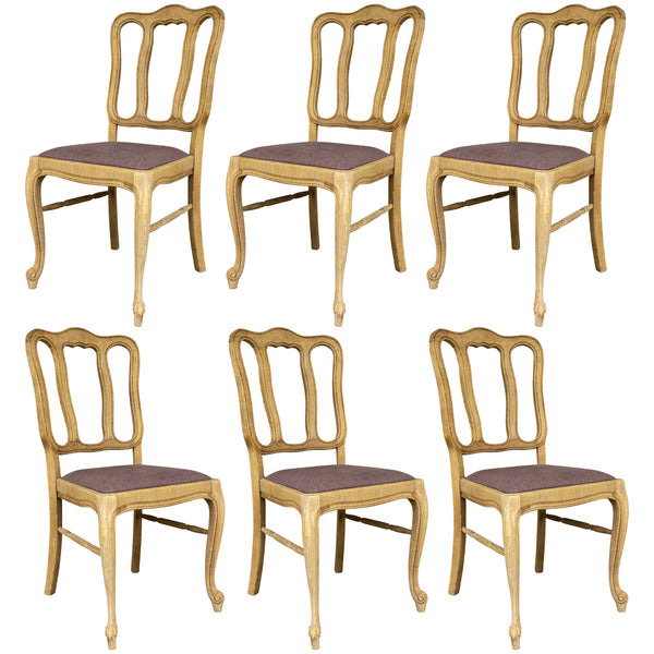 Vintage French Oak Dining Chairs with Belgian Linen Seat