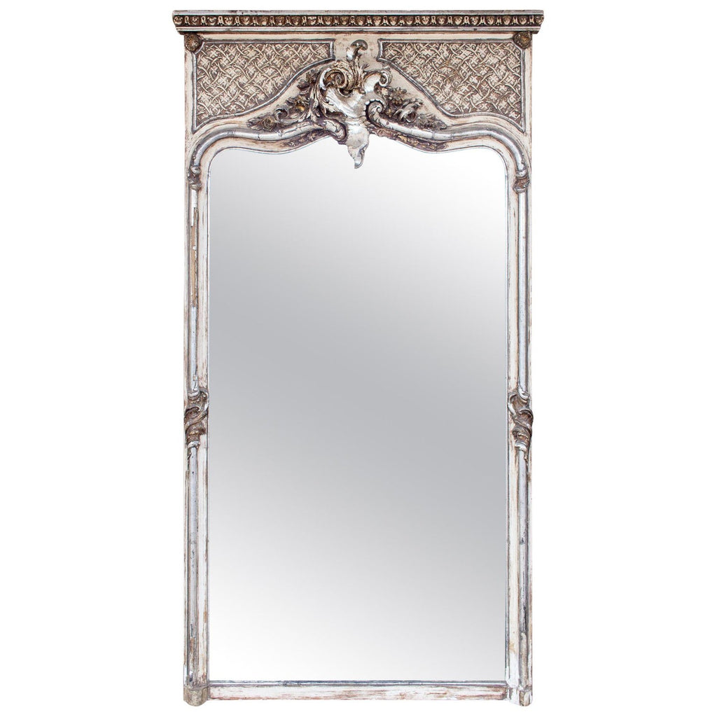 Full Length Antique French Louis XV Style Silver Gilt Trumeau Mirror