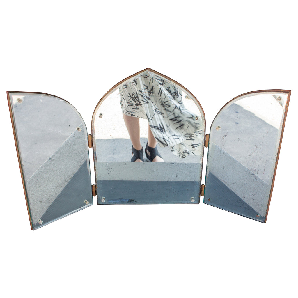1940s French Triptych Folding Vanity Mirror with Beveled Detail