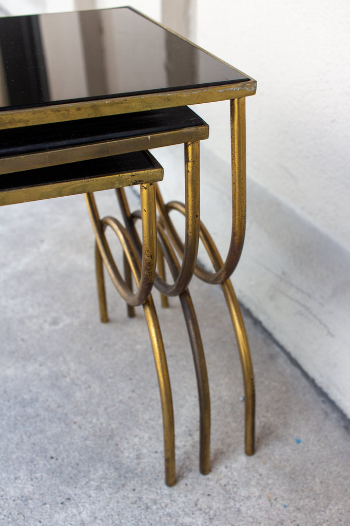 1950s Mod French Brass & Black Glass Nesting Tables, Set of Three