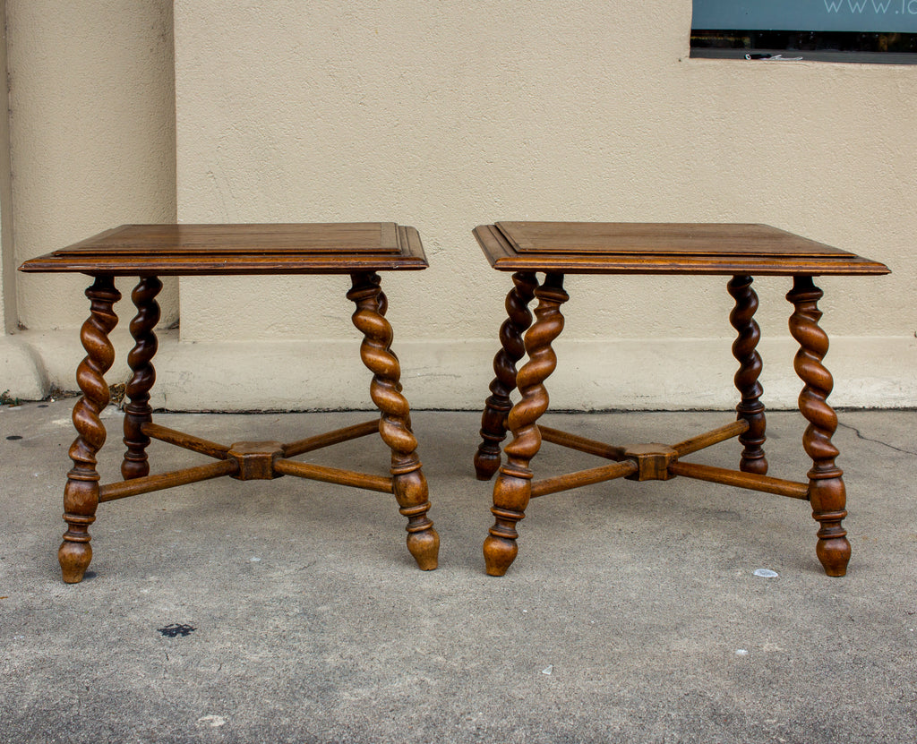 Pair of French Wood Jacobean Style Barley Twist Leg Side Tables, circa 1900