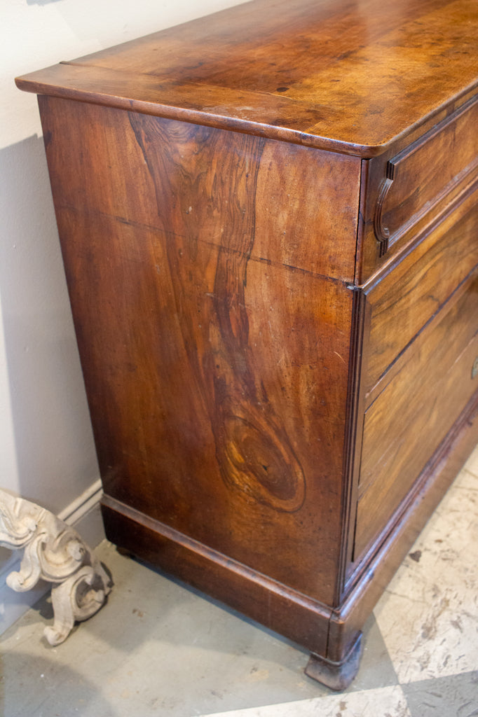 Antique French Louis Philippe Commode with Bureau Drawer in Mahogany