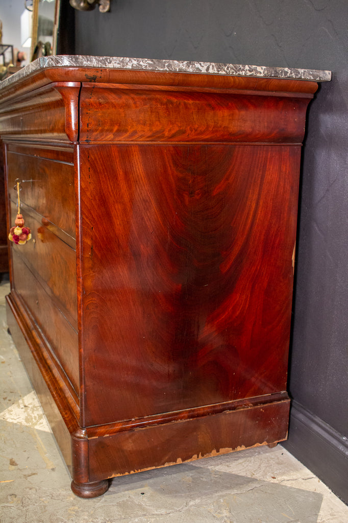 Antique French Louis Philippe Mahogany Veneer Commode with Marble Top