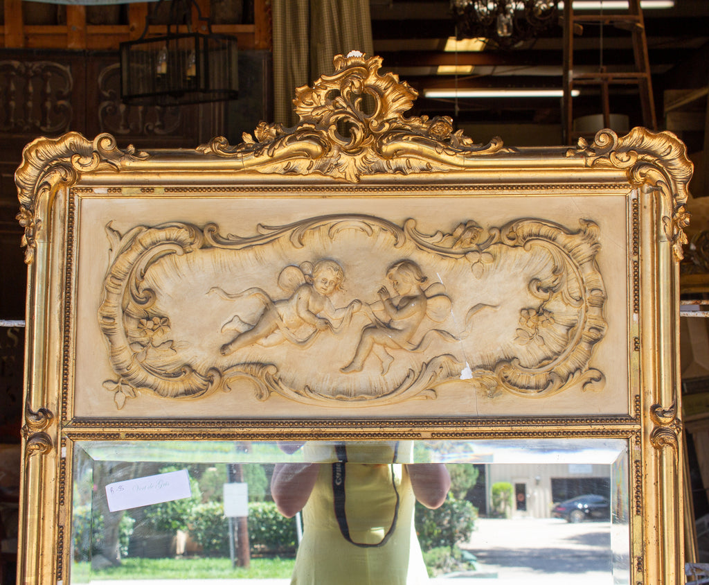 Antique French Gilt Louis XV Style Trumeau Mirror with Plaster Panel