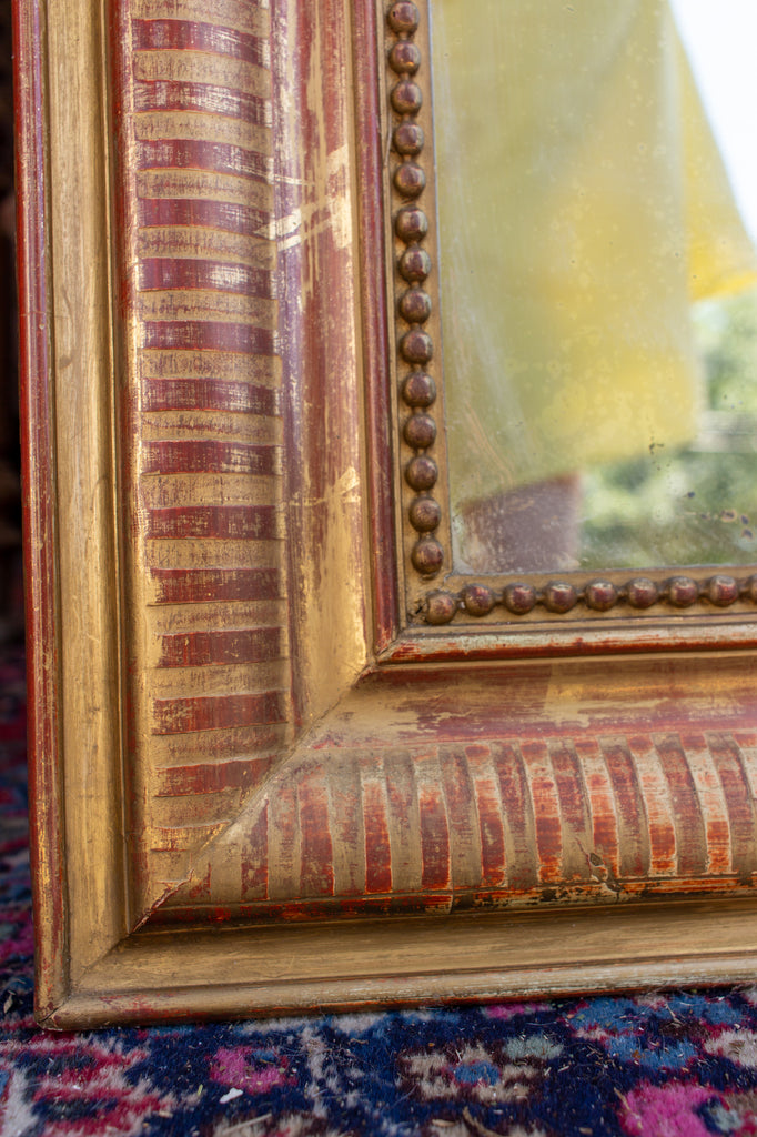 19th Century French Gilt Louis Philippe Mirror with Stripe Pattern