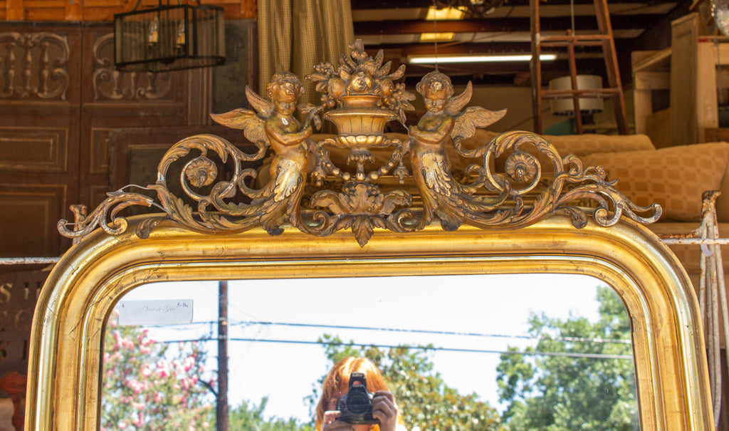 Antique French Gilt Louis Philippe Mirror with Ornate Cartouche