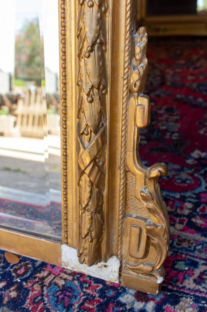 Antique French Rectangular Gilt Mirror with Ornate Cartouche & Laurel Detail