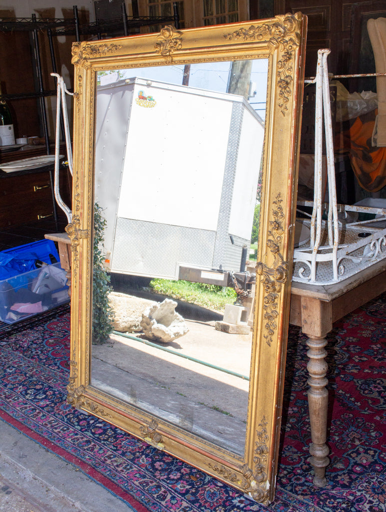 Antique French Gilt Restauration Mirror with Floral Details, circa 1820